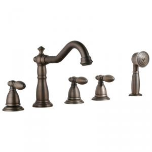 Classical Antique Plated Faucet Mixer Three Handles And Shower