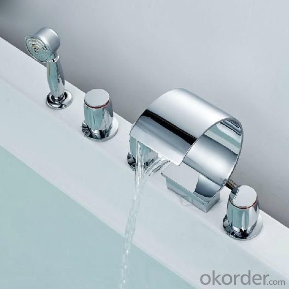 Three Blass Handle Chrome Plated Centerset Waterfall Bathroom Faucet