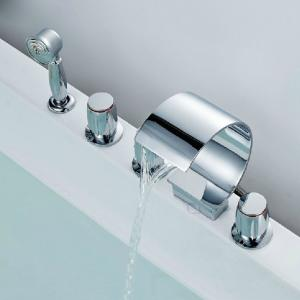 Three Blass Handle Chrome Plated Centerset Waterfall Bathroom Faucet