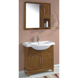 Classical Oak Bathroom Cabinet Ceramic Top Bath Vanity With Two Door