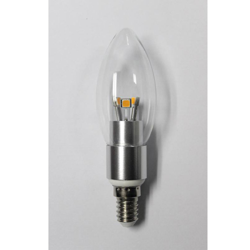 Dimmable LED Candle Bulb High Quality Silver Aluminum 4W Ra85 E14 280lm 85-265V LG LED SMD Chip Clear/Frosted/Milky Glass Cover