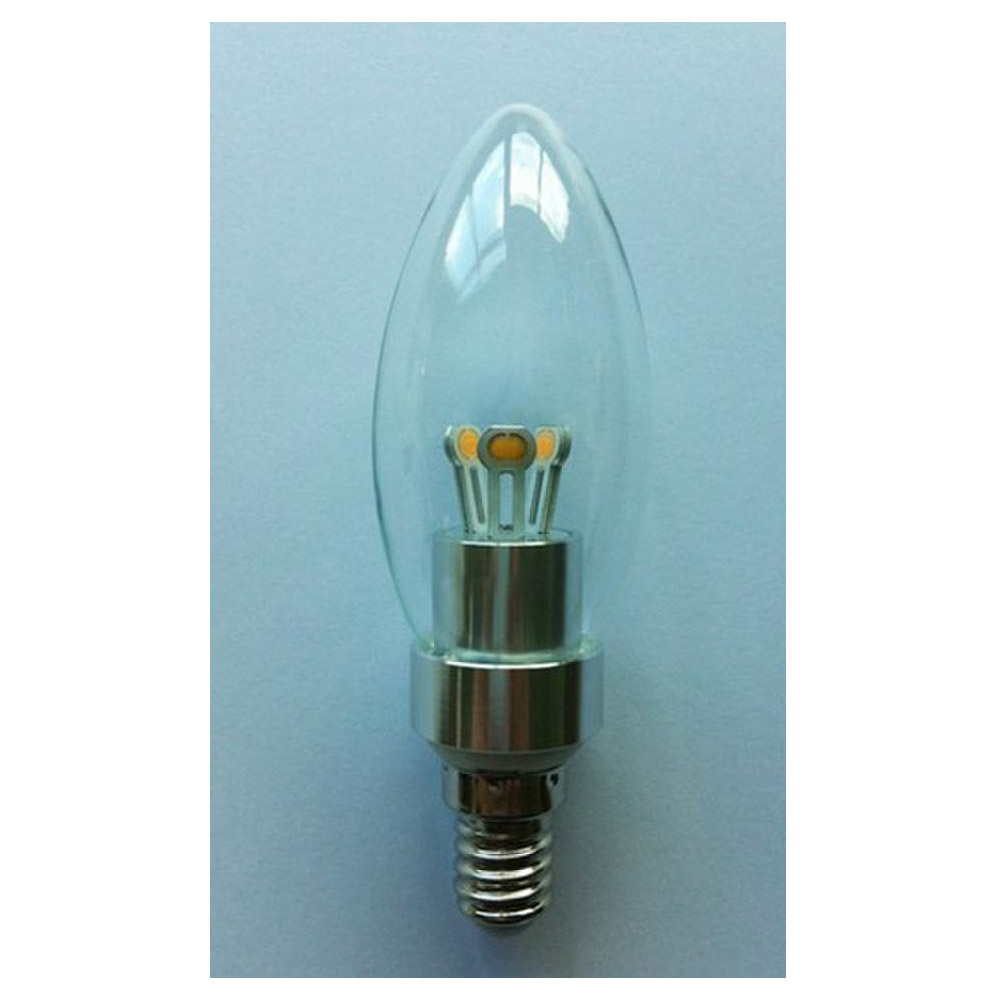 Dimmable LED Candle Bulb High Quality Silver Aluminum 3W Ra85 E14 180lm 85-265V LG SMD LED Chip Clear/Frosted/Milky Glass Cover