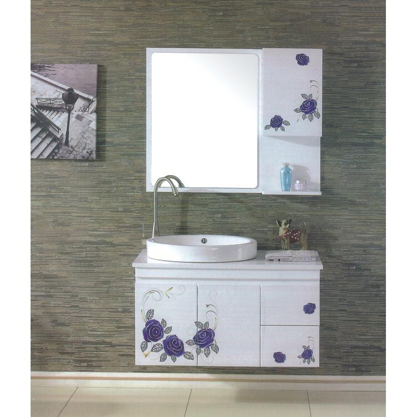 High End Purple Flower White Bathroom Mirror Cabinet