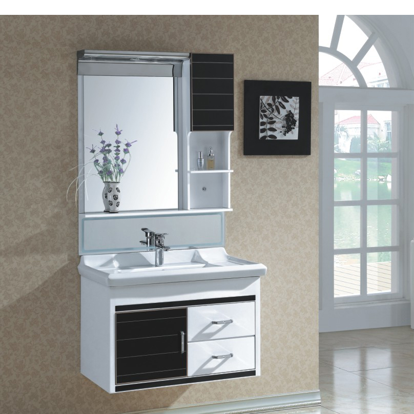 New Fashion Black PVC Bathroom Furniture Bathroom Cabinet