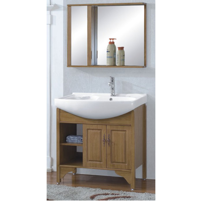 Ceramic Top Oak Bathroom Cabinet
