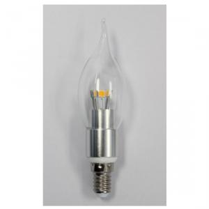 Factory Newest LED Bent-tip Bulb Silver Aluminum 4W Ra85 E14 280lm LED Candle Bulb Light