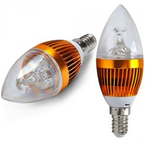 2 Years Warranty Dimmable LED Candle Bulb Gloden Aluminum 3x1W E14 180lm LED Global Bulb Light
