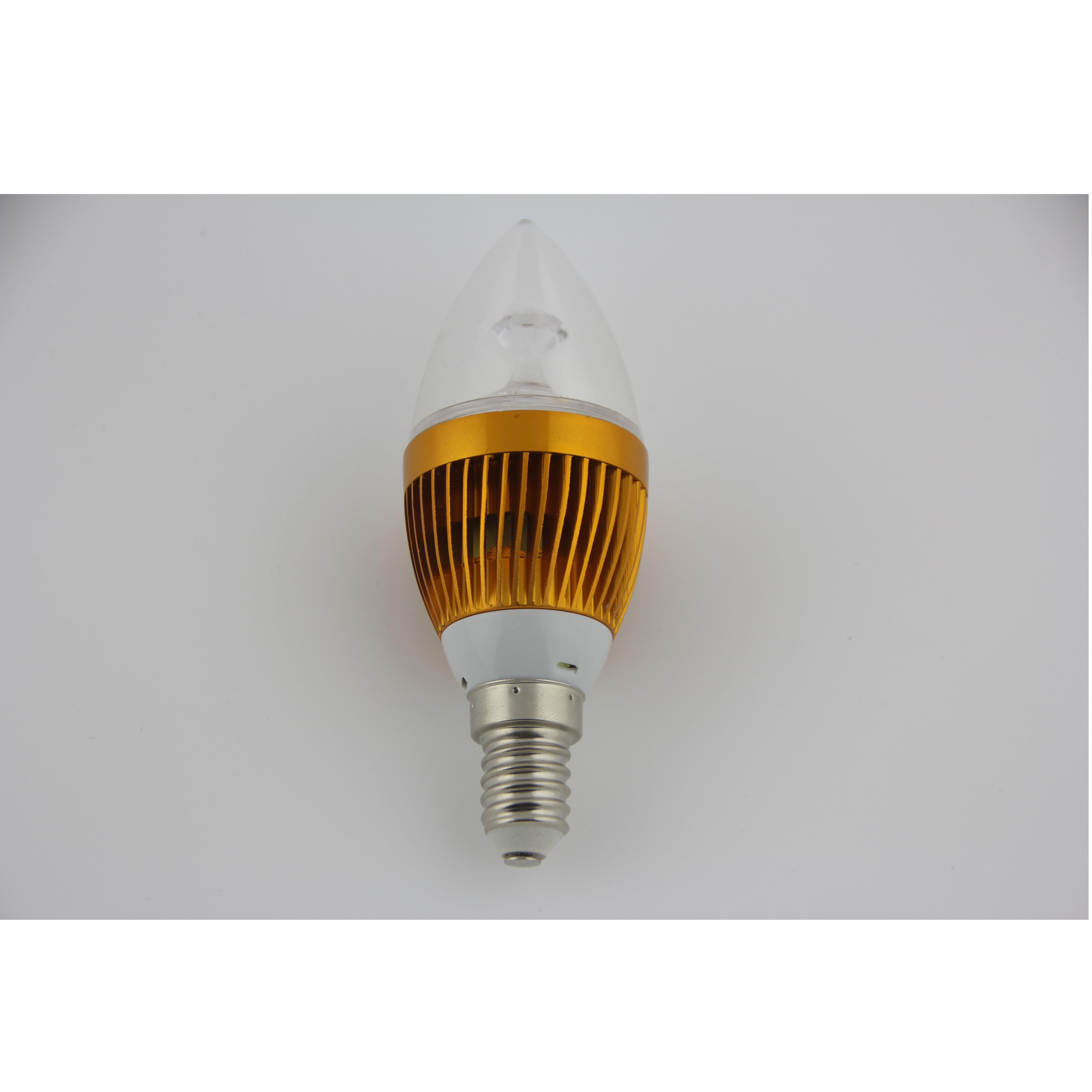 LED Candle Bulb High Quality Gloden Aluminum 3x1W E14 180lm  85-265V LED Global Bulb Light Spotlight Downlight