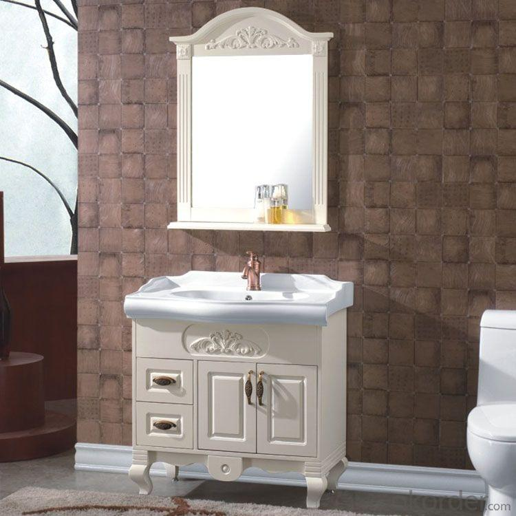 Ceramic Top Oak White Bathroom Cabinet