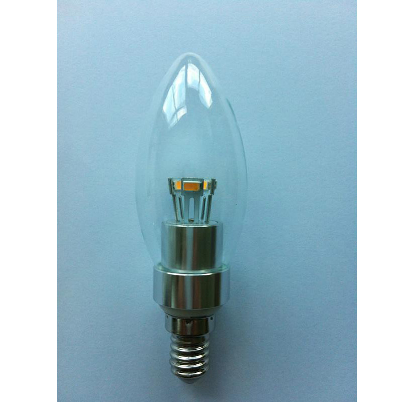 2 Years Warranty Factory LED Candle Bulb Silver Aluminum 3W E14 180lm