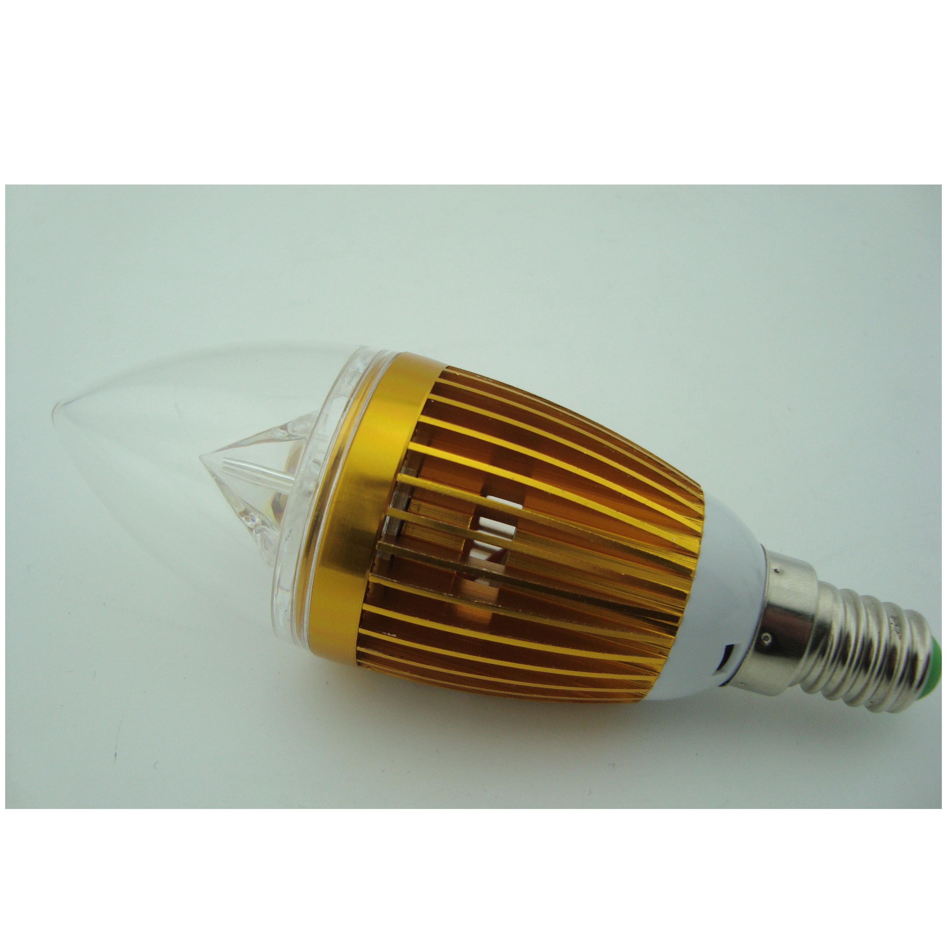 LED Candle Bulb High Quality Gloden Aluminum 1x3W E14 180lm  85-265V LED Global Bulb Light Spotlight Downlight
