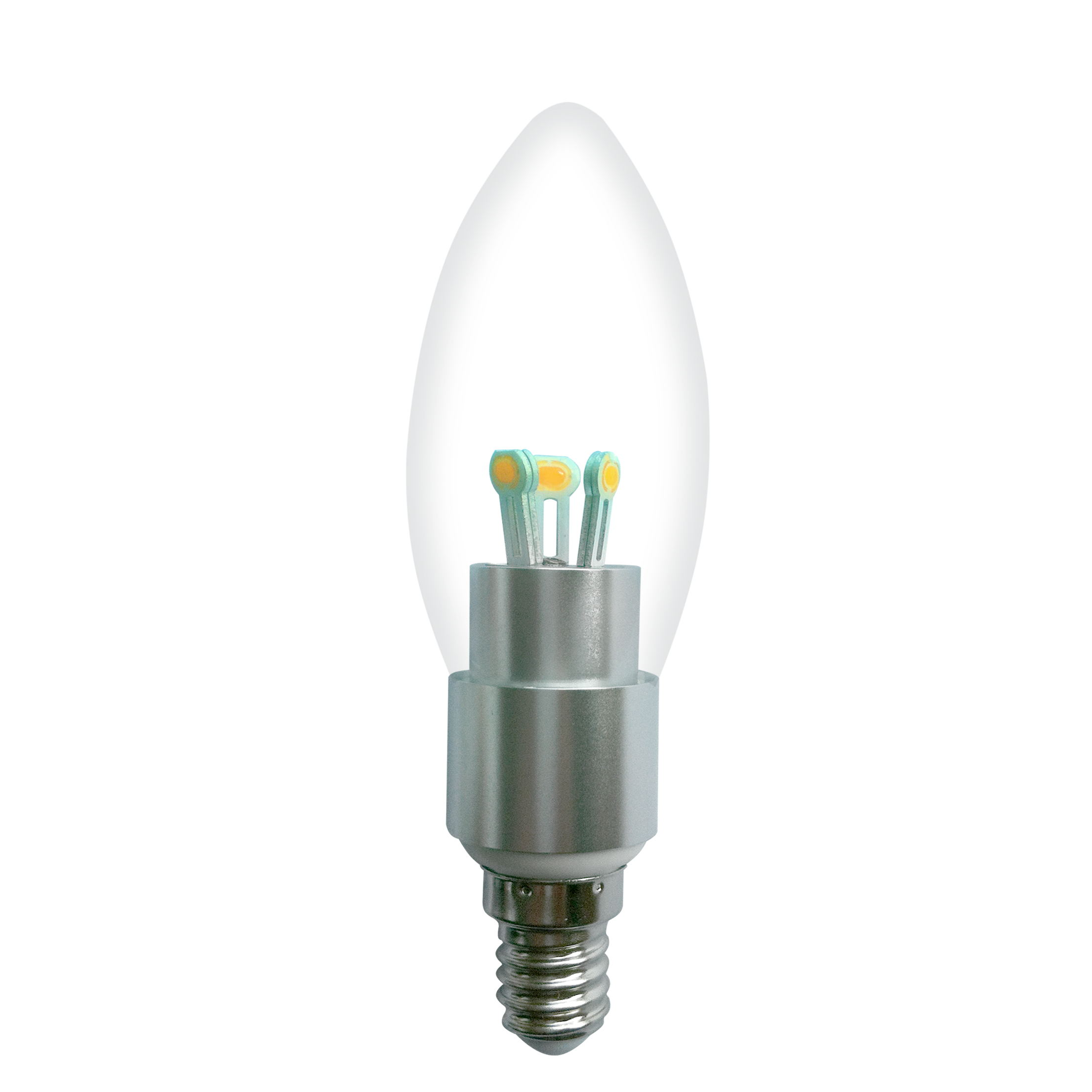 Dimmable LED Candle Bulb High Quality Silver Aluminum 4W Ra85 E14 280lm 85-265V COB SMD Chip Clear/Frosted/Milky Glass Cover