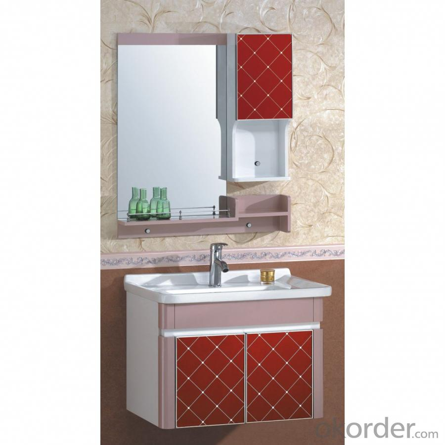 New Fashion Red Grid PVC Bathroom Furniture Bathroom Cabinet