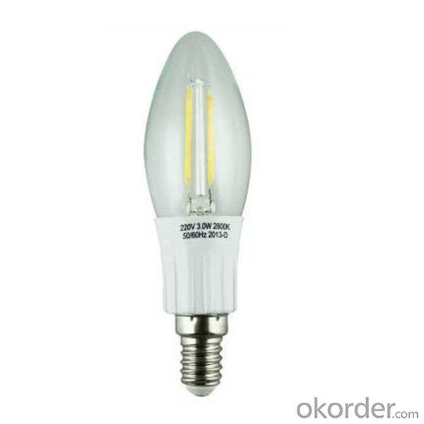 LED Filament Lamp 360°Candle Bulb E14 2W AC110V/220V 200-225lm Warm White/White