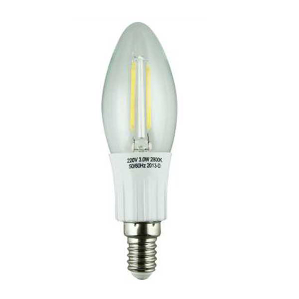LED Filament Lamp 360°Candle Bulb E14 2W AC110V/220V 200-225lm Warm White/White