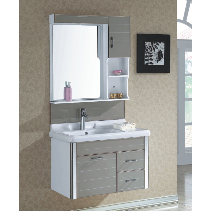 High Quality Ceramic Top Gary Bathroom Cabinet