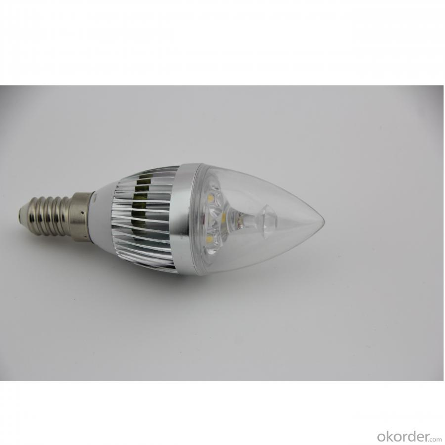 LED Candle Bulb High Quality Silver Aluminum 3x1W E14 180lm  85-265V LED Global Bulb Light Spotlight Downlight
