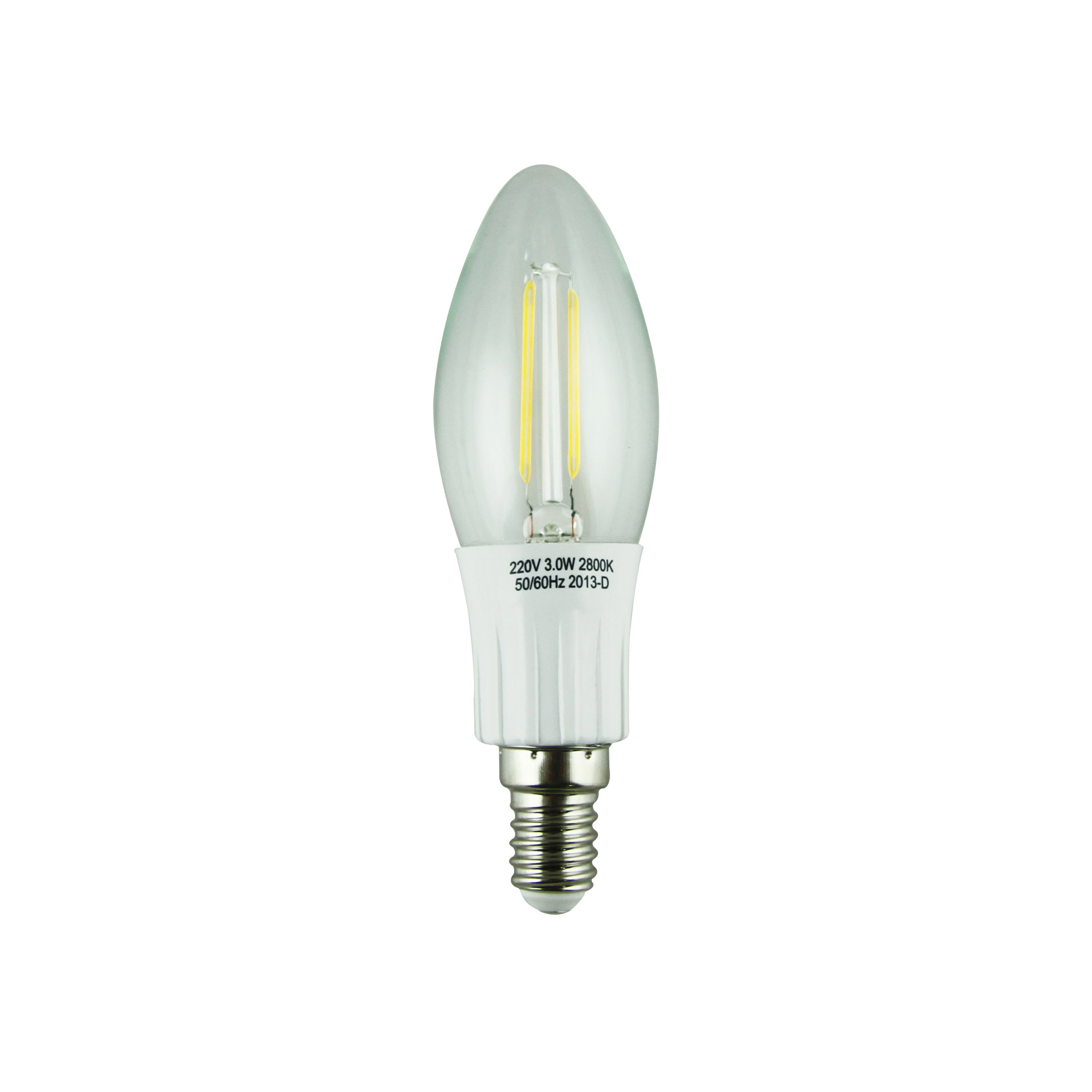LED Filament Lamp 360°Candle Bulb E14 3W AC110V/220V 300-330lm Warm White/White