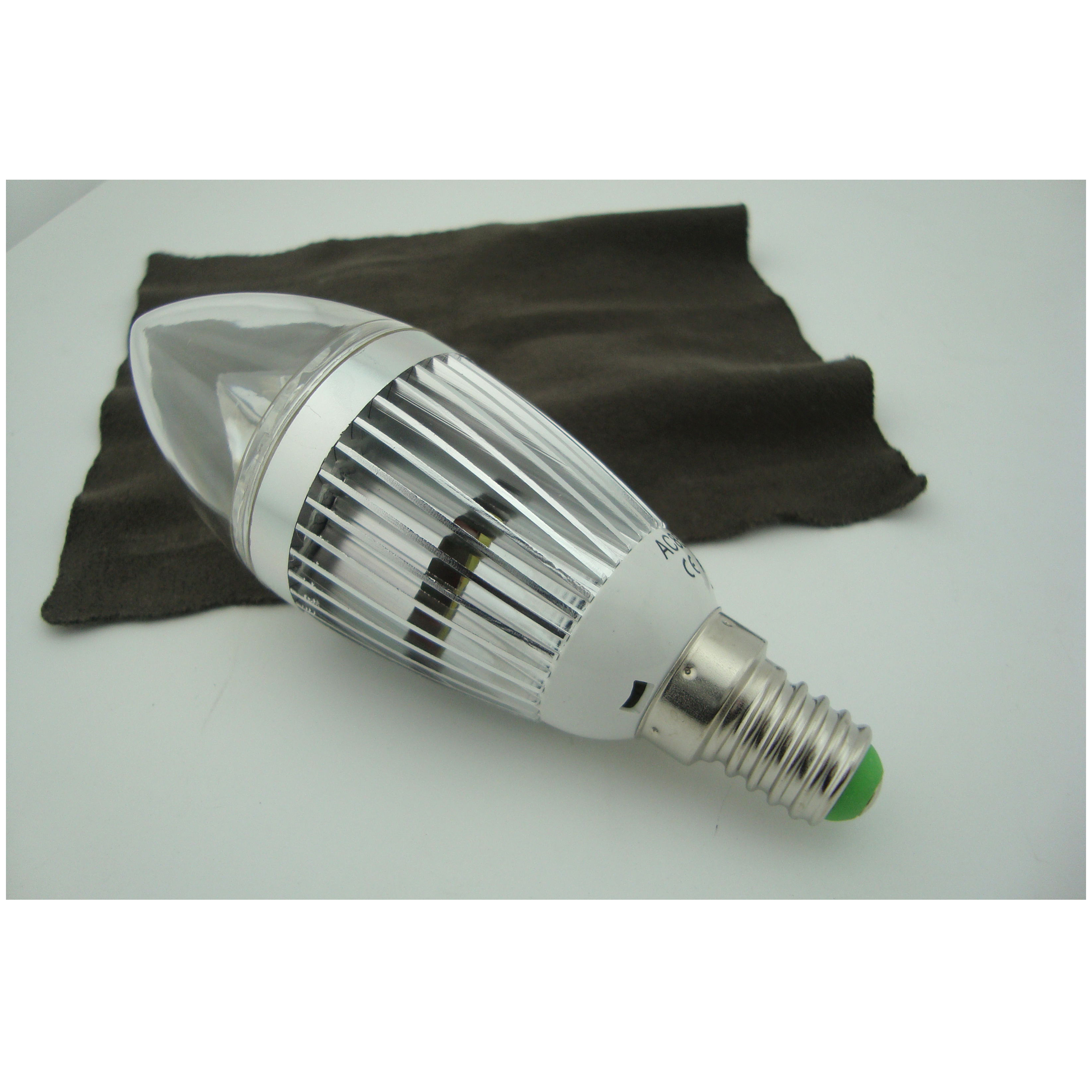 High Quality Silver Aluminum 1x3W E14 180lm  85 to 265V LED Candle Bulb Light Spotlight Downlight