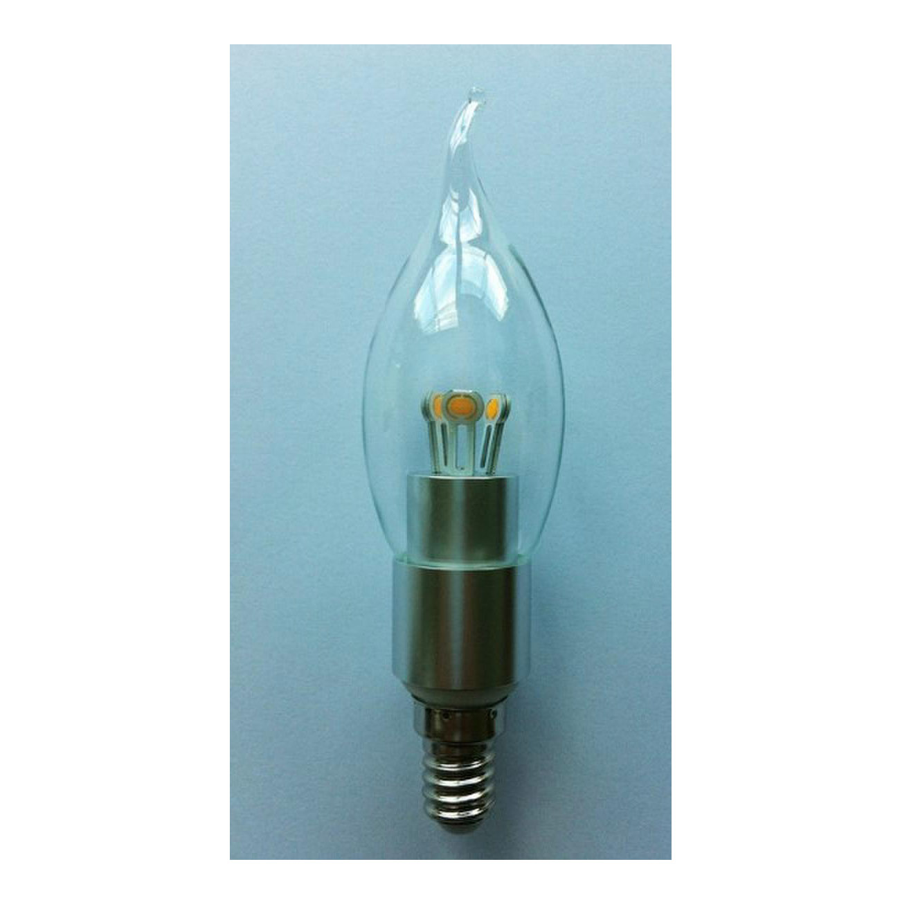 LED Bent-tip Bulb High Quality Silver Aluminum 3W Ra85 E14 180lm  85-265V COB LED Chip Clear/Frosted/Milky Glass Cover