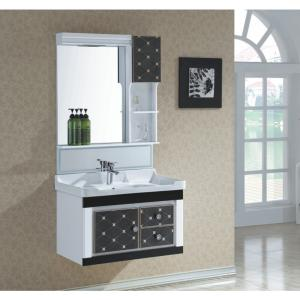 New Fashion Black Grid PVC Bathroom Furniture Bathroom Cabinet