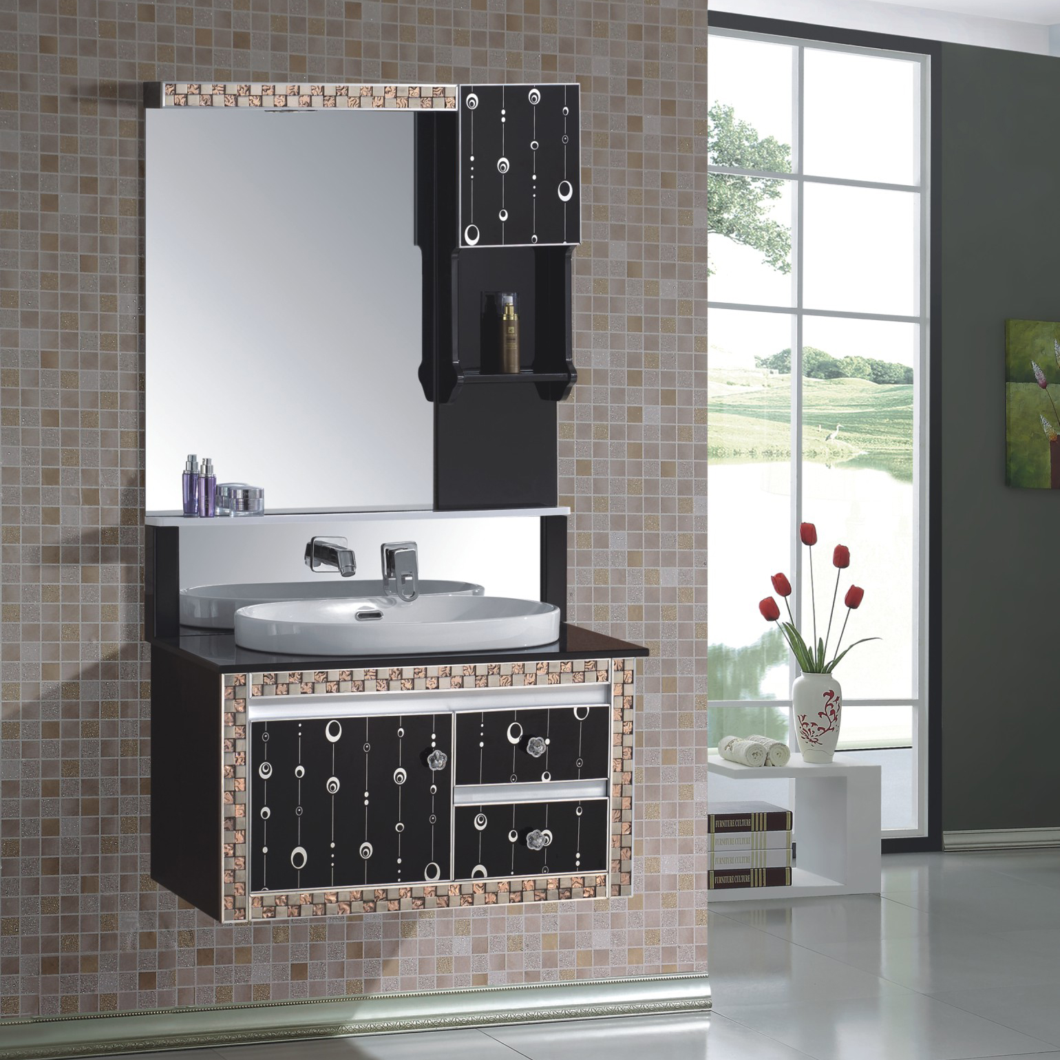 High Quality Classical Modern Black  Ceramic Top Bath Mirror Cabinet