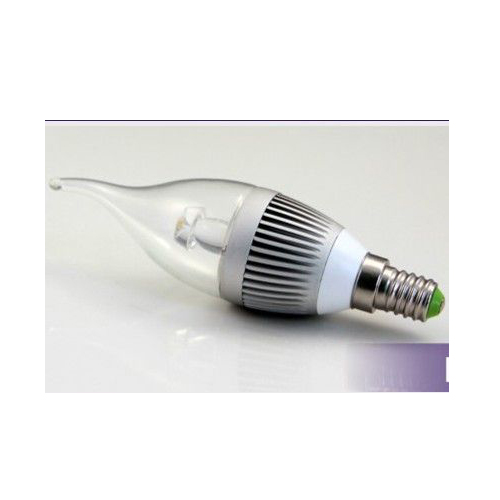 LED Bent-tip Bulb High Quality Silver Aluminum 1x3W E14 180lm 85 to 265V LED Candle Bulb Light Spotlight Downlight