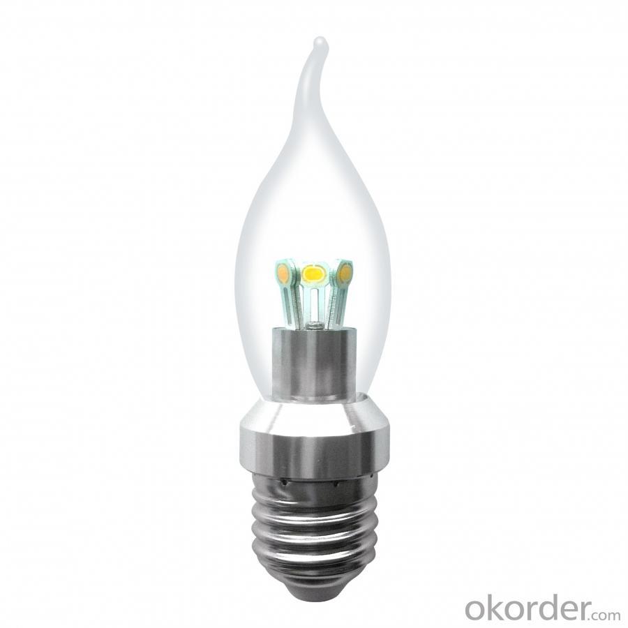 Newest Factory LED Bent-tip Bulb Silver Aluminum 3W E14 180lm LED Candle Bulb Light