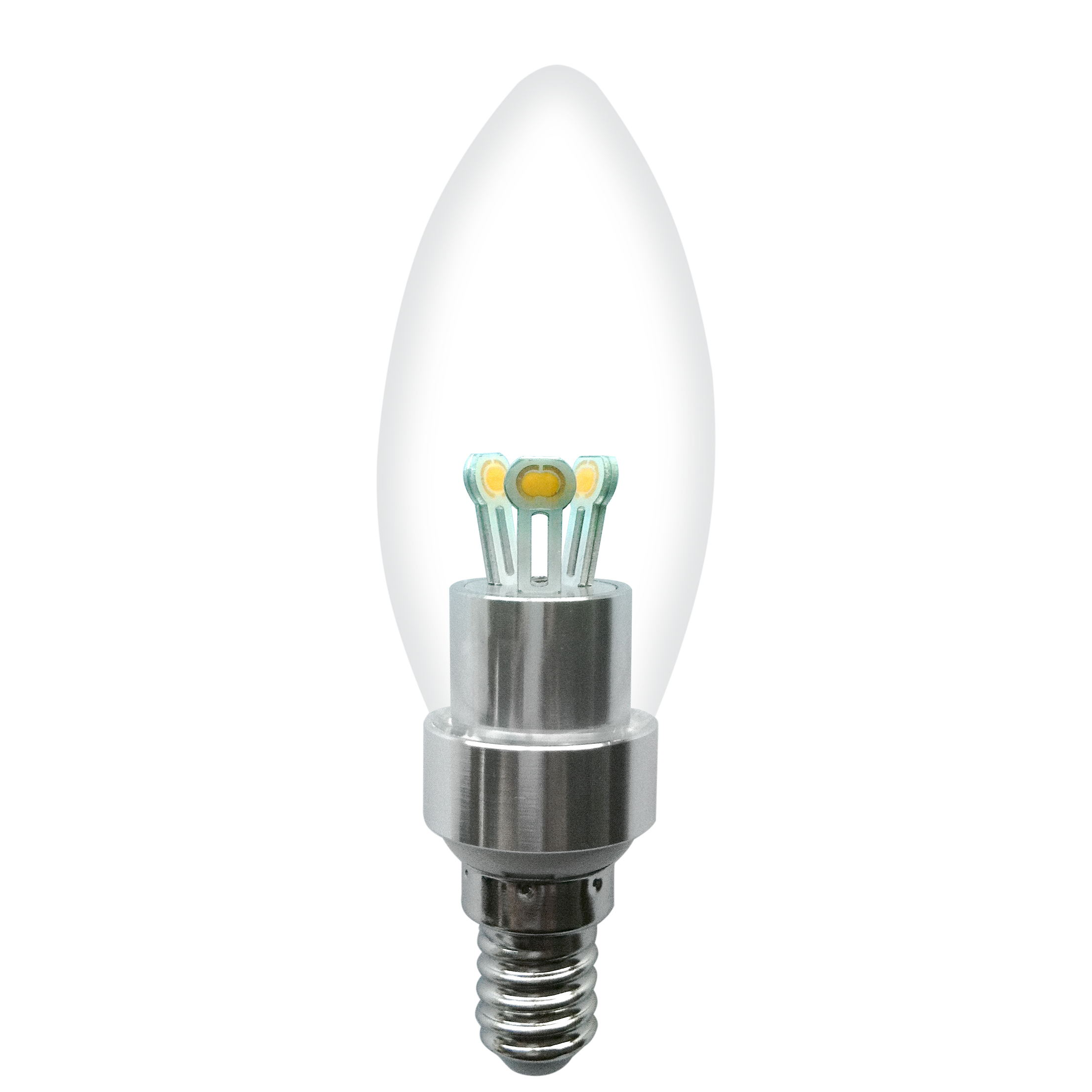Dimmable LED Candle Bulb High Quality Silver Aluminum 3W Ra85 E14 180lm 85-265V COB LED Chip Clear/Frosted/Milky Glass Cover