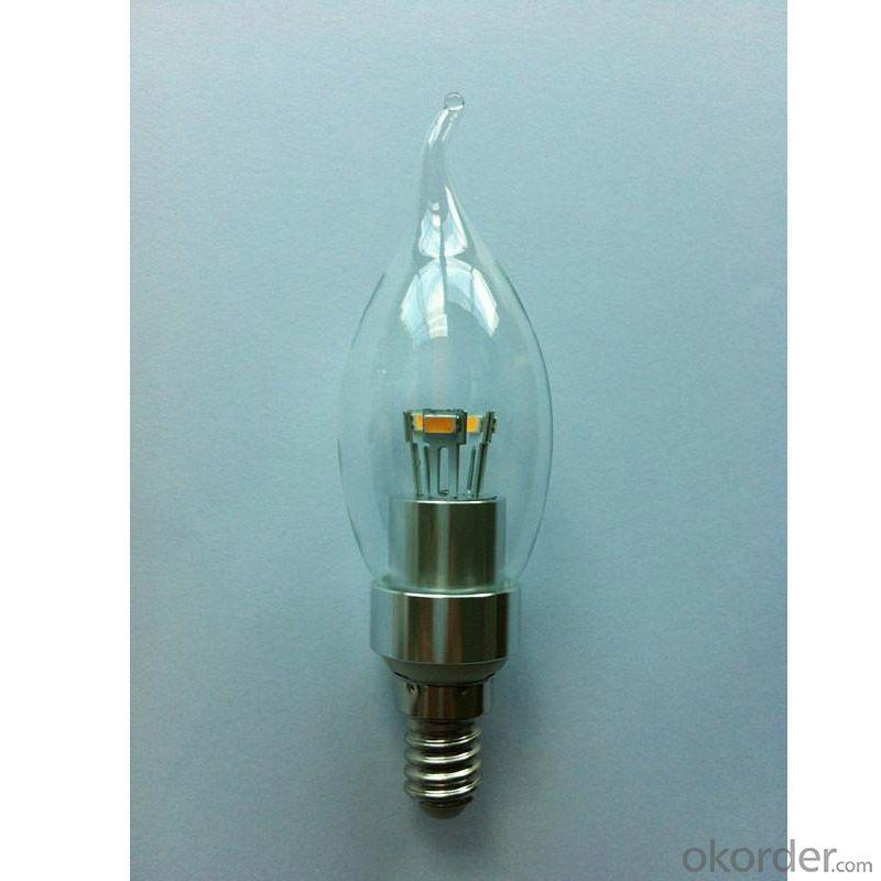 LED Bent-tip Bulb High Quality Silver Aluminum 3W Ra85 E14 180lm  85-265V LG SMD LED Chip Clear/Frosted/Milky Glass Cover