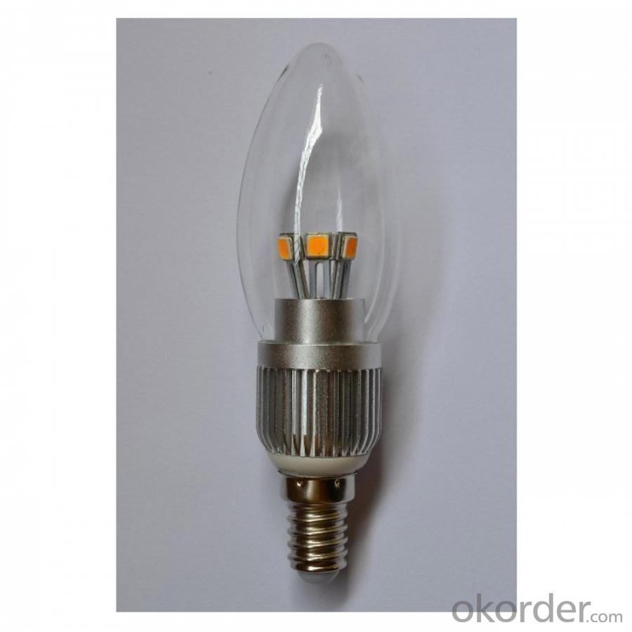 LED Candle Bulb High Quality Silver Aluminum 5W Ra85 E14 380lm 85-265V LG SMD LED Chip Clear/Frosted/Milky Glass Cover