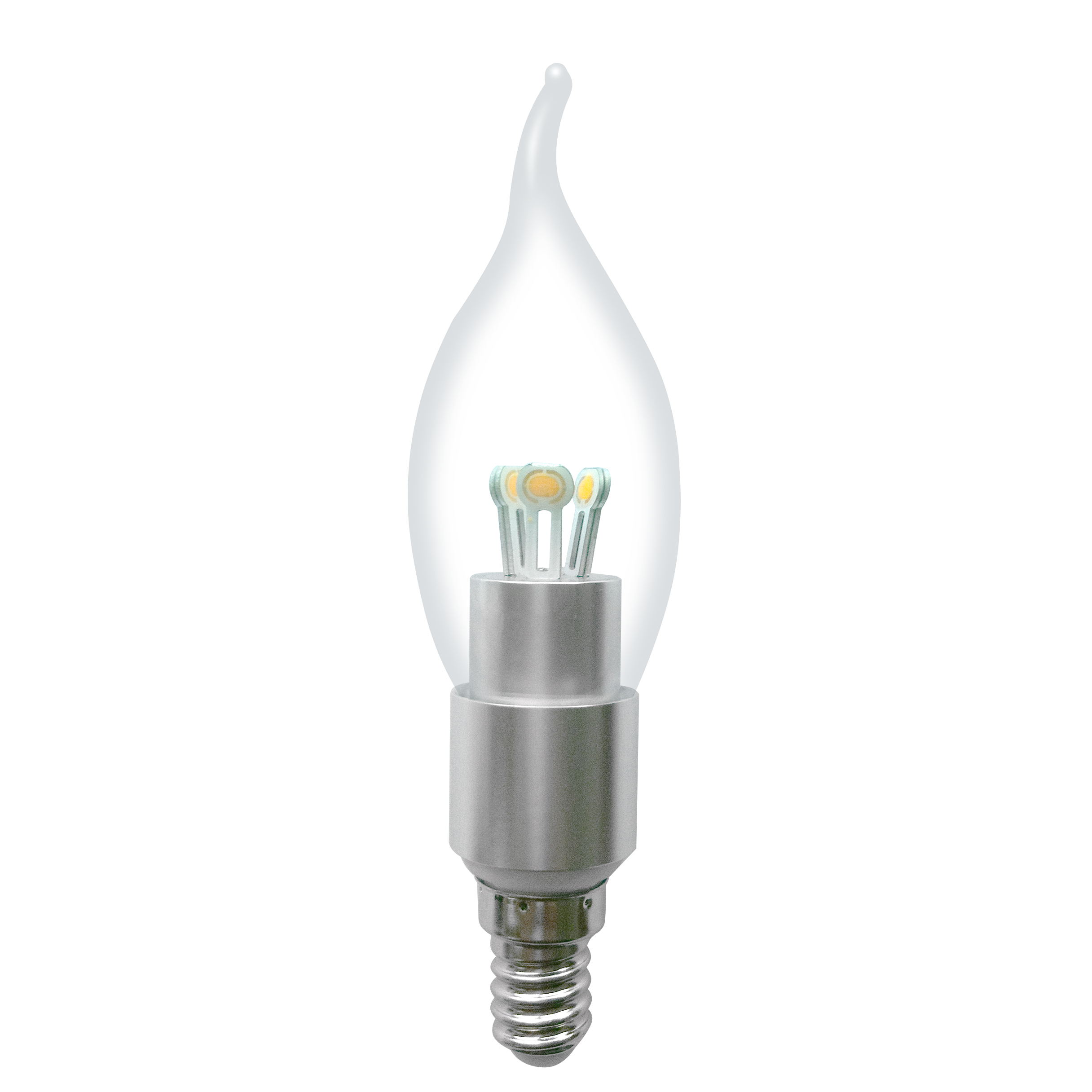 Dimmable LED Bent-tip Bulb High Quality Silver Aluminum 4W Ra85 E14 280lm  85-265V COB LED Chip Clear/Frosted/Milky Glass Cover