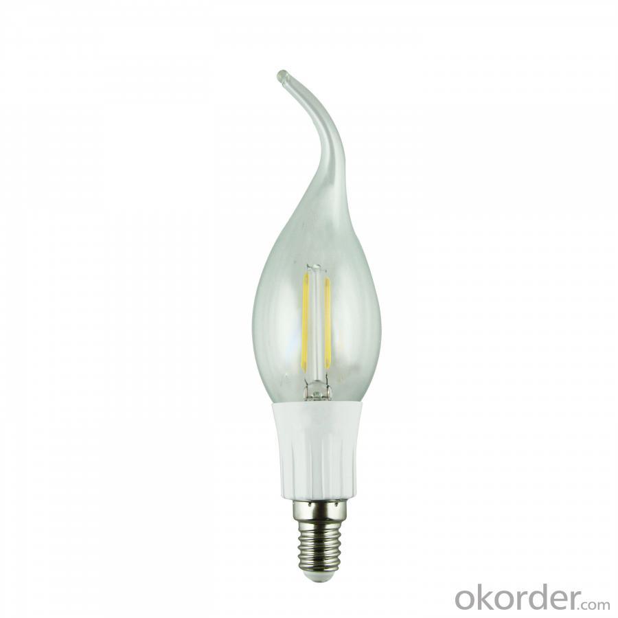 LED Filament Lamp 360°Bent-tip Candle Bulb E14 2W AC110V/220V 200-225lm Warm White/White