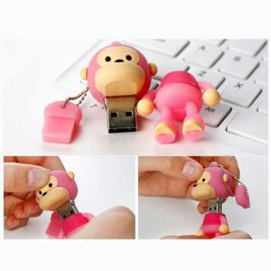 8GB Cute Mini Cartoon Monkey USB Flash Memory Stick Drive Pink