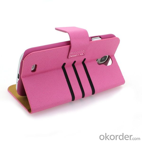 For iPhone5/5S, Wallet Pouch Cross Pattern PU Leather Stand Case Cover Pink