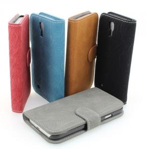 Samsung Rose/ Red Wallet Pouch PU Leather Stand Case Cover for Galaxy S4 (I9500)