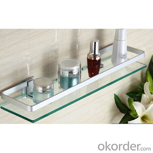 New Design Exquisite Decorative Bathroom Accessories Solid Brass Double Glass Shelf
