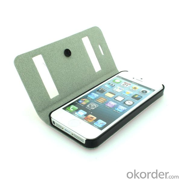 2014 Newest For iPhone 5 5s 5g 5gs Litchi Grain S View Open Window Smart Cover Flip Case With Auto Sleep Wake By China Exporter
