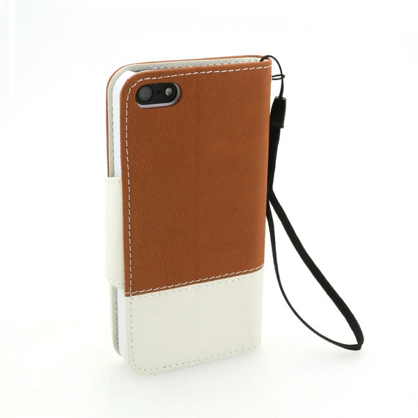 Wallet Pouch Tree Pattern PU Leather Stand Case Cover for iPhone5/5S Brown