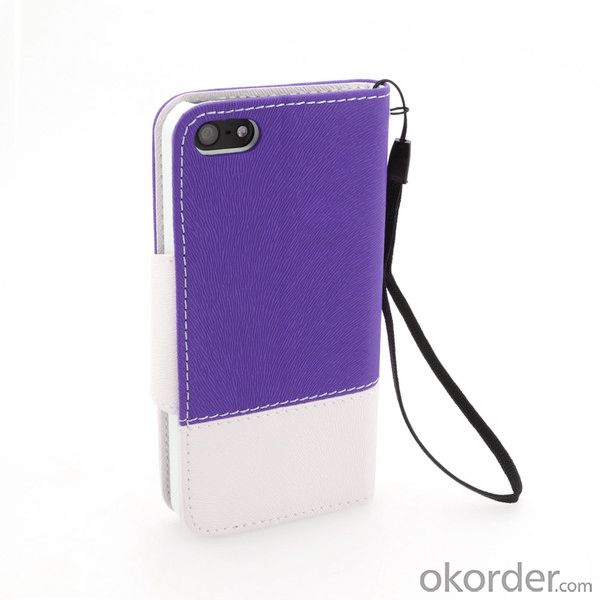 Purple Wallet Pouth Case for iPhone5/5S Tree Pattern PU Leather Stand Cover
