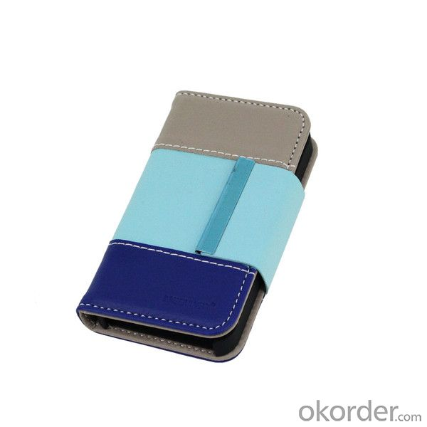 2014 Newest For iPhone 5 5S TCD Three Color Way Folio Horizontal Leather Wallet Case Cover With ID Card Slot Holder Cover