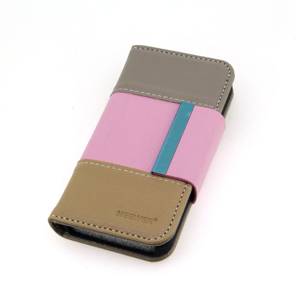 For iPhone 5 5S Lady Fashion Pink  Leather Case Cover With ID Card Slot Holder Mannetic Flip Case Cover