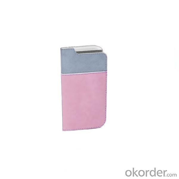 2014 New For Samsung Galaxy S4 I9500 Contrast Color Horizontal Flip Cover Case With ID Credit Card Slot Holder Pink