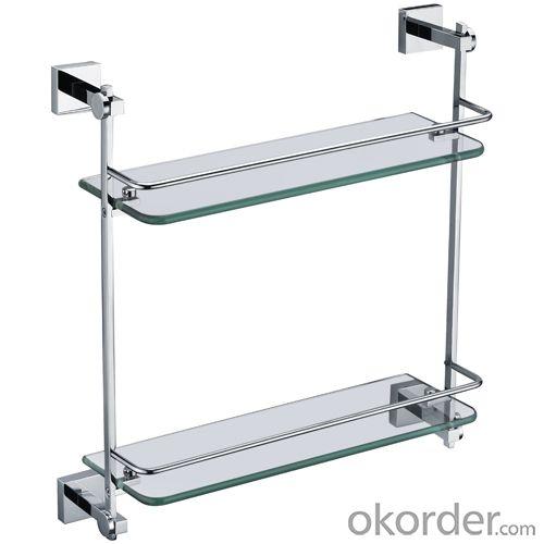 Mondern Decorative Bathroom Accessories Solid Brass Double Glass Shelf