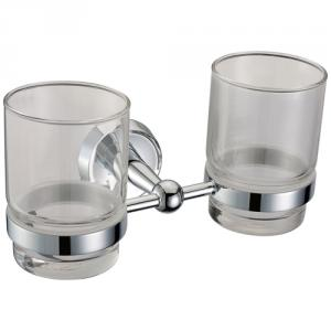 Hardware House Decorative Exquisite Bathroom Accessories Solid Brass Double Tumbler Holder