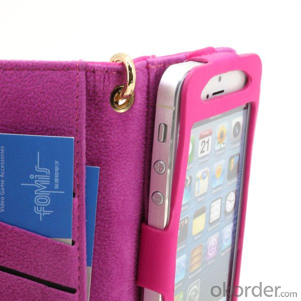For iPhone 5 5S PU Leather Wallet Pouch Case With ID Credit Card Slot Blue By China Manufacturer