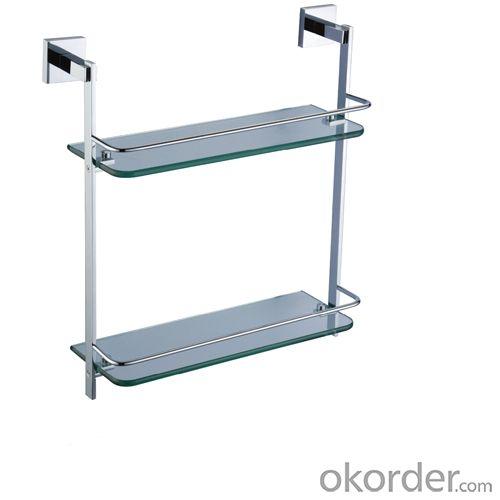 New Fashion Bathroom Accessories Solid Brass Double Glass Shelf