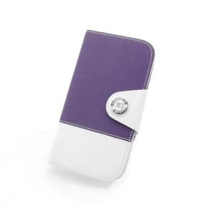 China Manufacture Fashion Horizontal Wallet Cover Case For Samsung Galaxy S4 I9500 With ID Credit Card Slot Holder Purple