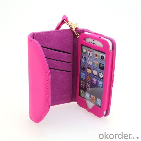 2014 Hot Selling Shiny PU Leather Wallet Pouch Case for  iPhone 5/5S Yellow From China Manufacturer