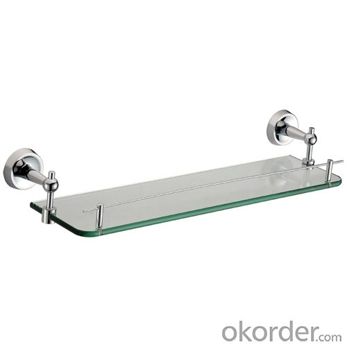 Decorative Exquisite Bathroom Accessories Solid Brass Glass Shelf